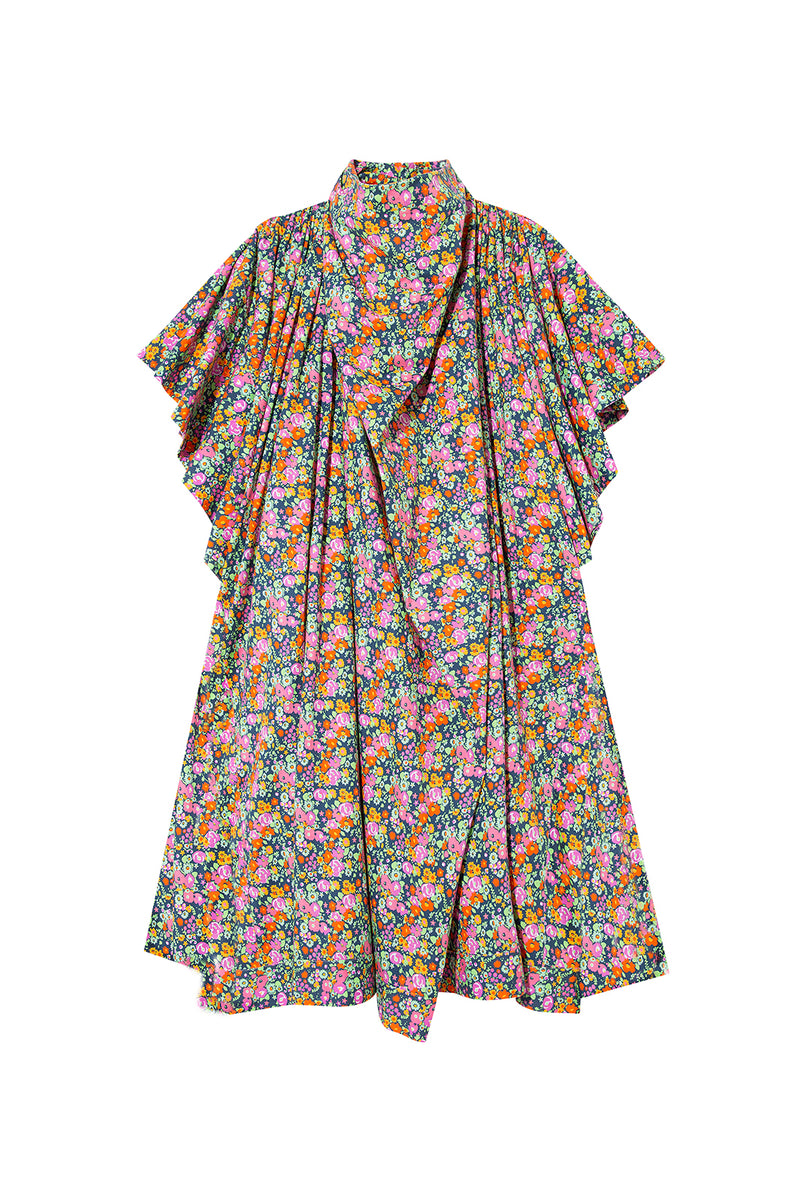 MONI - Printed mini dress with ruffled sleeve
