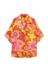 ACE - Printed short sleeve piped cotton shirt