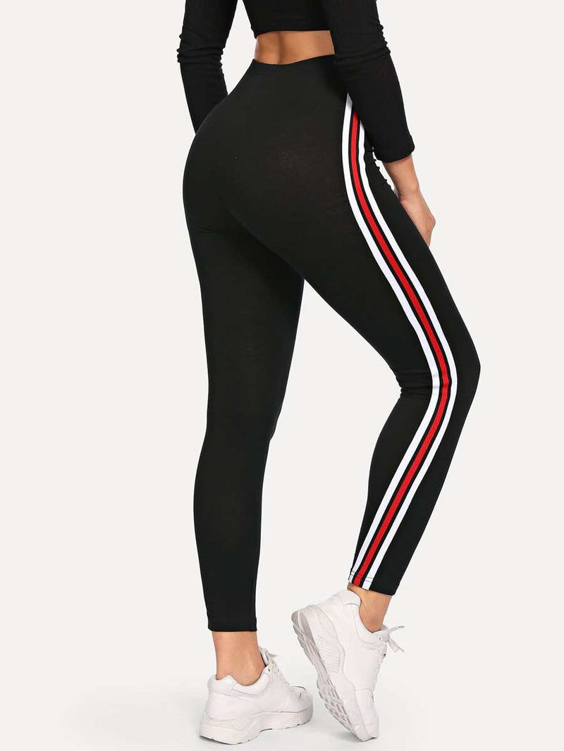 Striped High-Rise Ankle-Cut Leggings - Shop Women's T-shirts, blouses, Leggings & Trousers online - Luwos