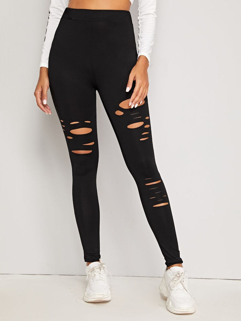 Distressed High-Rise Leggings - Shop Women's T-shirts, blouses, Leggings & Trousers online - Luwos