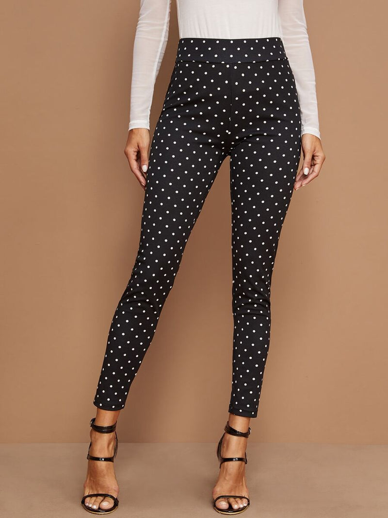 Wide Waistband Polka Dot Leggings - Shop Women's T-shirts, blouses, Leggings & Trousers online - Luwos