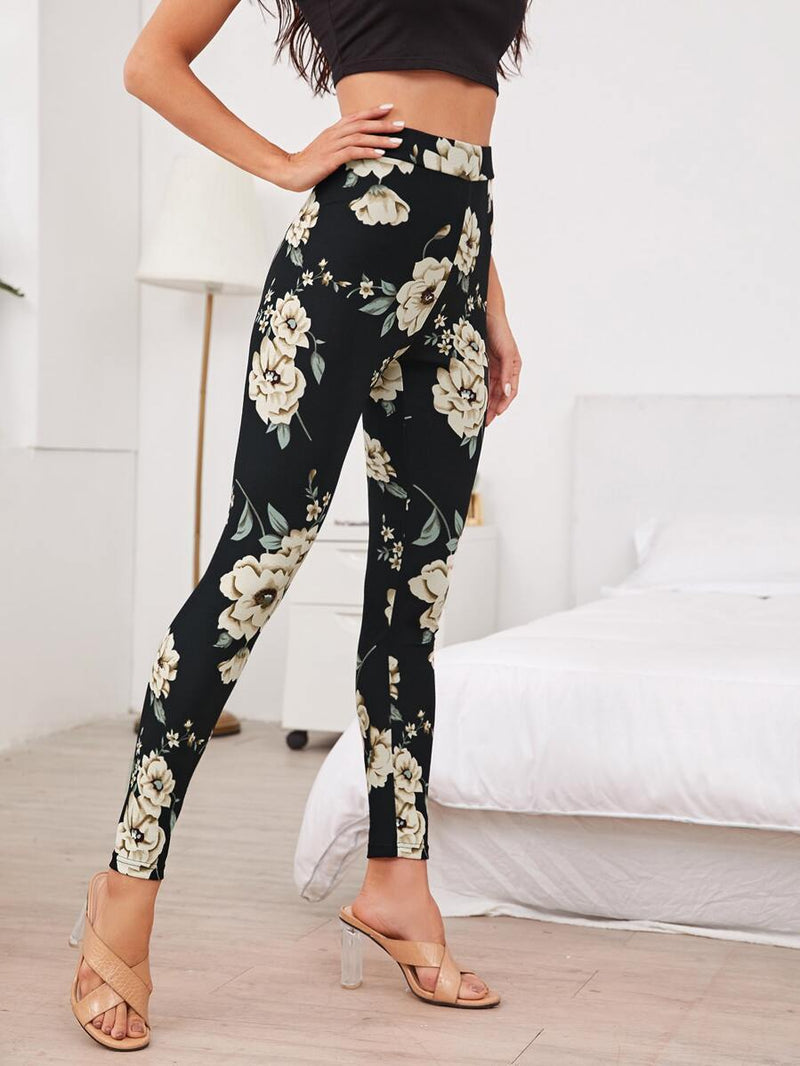 Wide Waistband Floral Leggings</h1><br> [dropshipall-rating] - Shop Women's T-shirts, blouses, Leggings & Trousers online - Luwos
