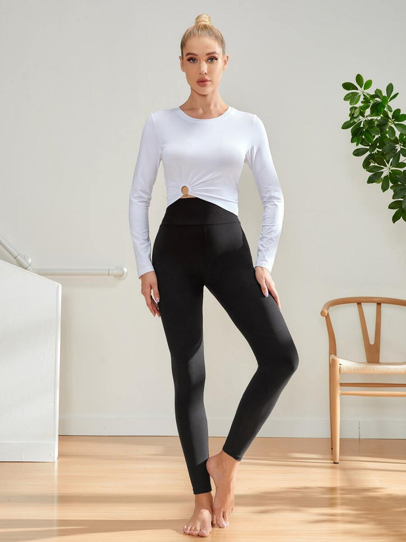 Solid Wideband Waist Crop Sports Leggings - Shop Women's T-shirts, blouses, Leggings & Trousers online - Luwos