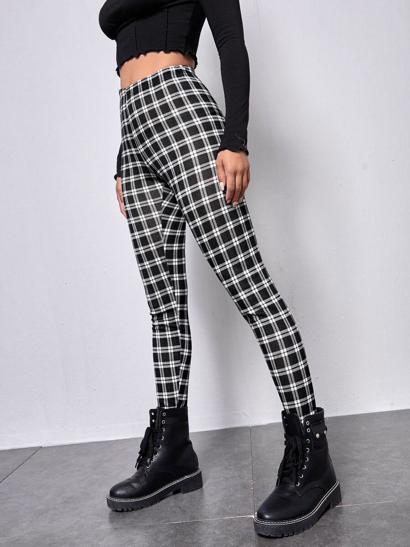 Elastic Waist Plaid Leggings - Shop Women's T-shirts, blouses, Leggings & Trousers online - Luwos