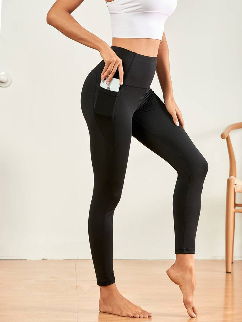 Solid Wide Waistband Sports Leggings With Phone Pocket - Shop Women's T-shirts, blouses, Leggings & Trousers online - Luwos
