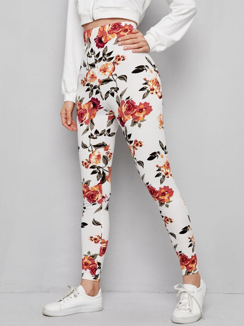 Luwos Floral Print Leggings - Shop Women's T-shirts, blouses, Leggings & Trousers online - Luwos