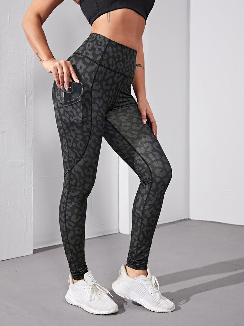 Allover Print Sports Leggings With Phone Pocket - Shop Women's T-shirts, blouses, Leggings & Trousers online - Luwos