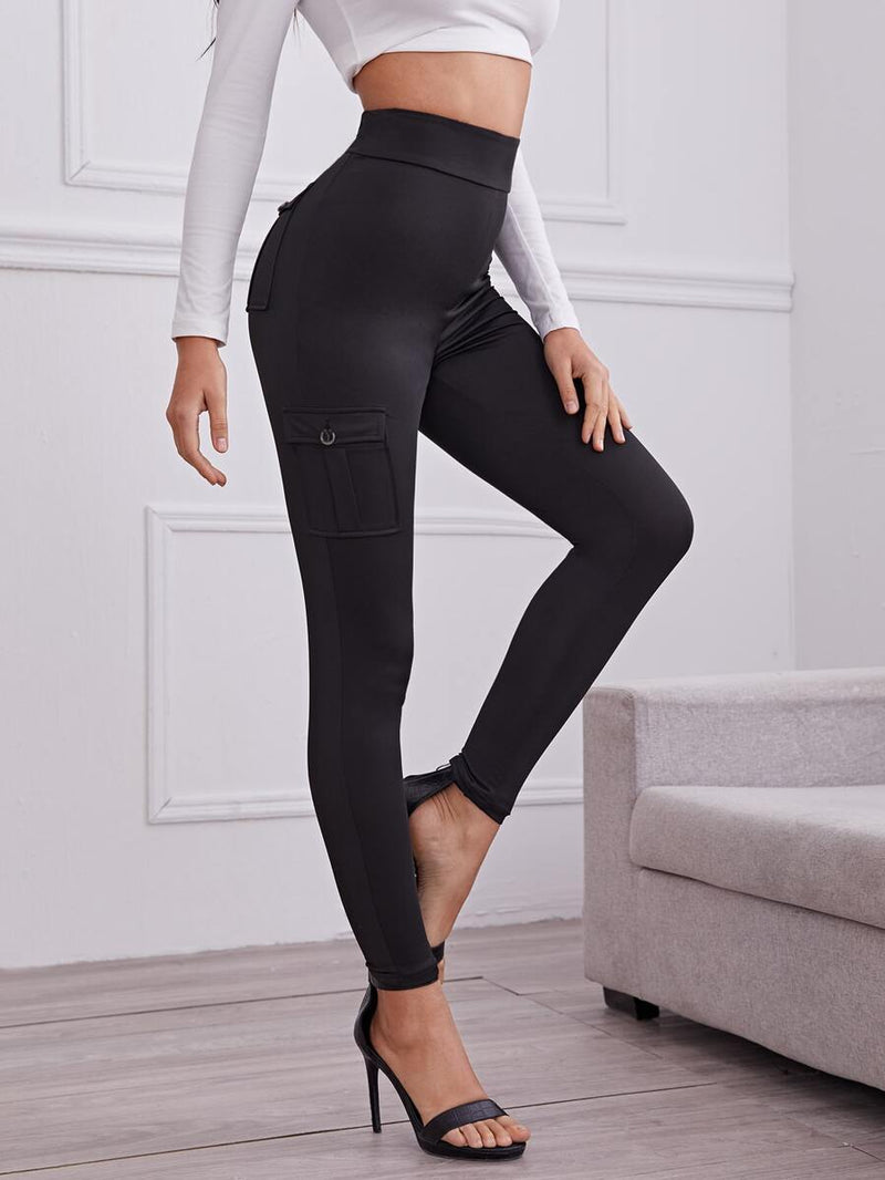Solid Flap Pocket Leggings - Shop Women's T-shirts, blouses, Leggings & Trousers online - Luwos