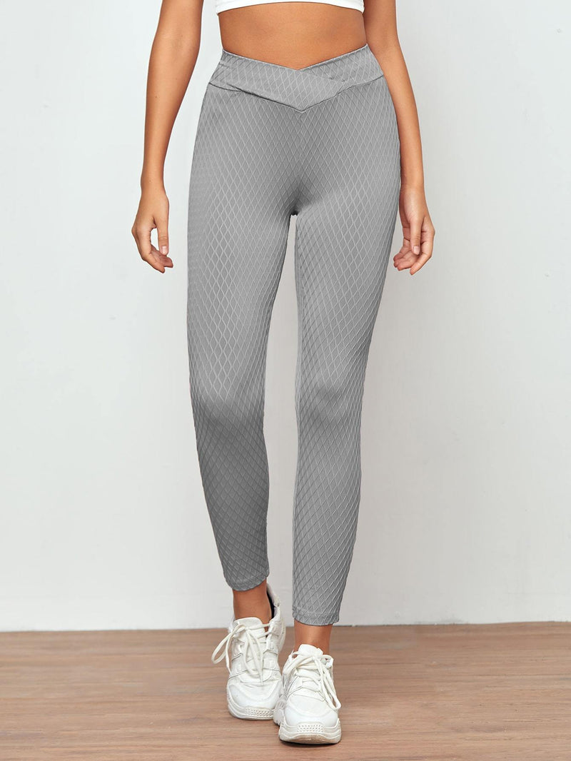 Asymmetrical Waistband Textured Knit Leggings - Shop Women's T-shirts, blouses, Leggings & Trousers online - Luwos