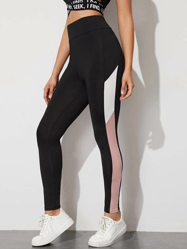 Leggings Color block Striped High-Rise Luwos - Shop Women's T-shirts, blouses, Leggings & Trousers online - Luwos