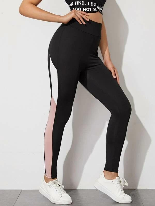 Colourblock Striped High-Rise Leggings - Shop Women's T-shirts, blouses, Leggings & Trousers online - Luwos