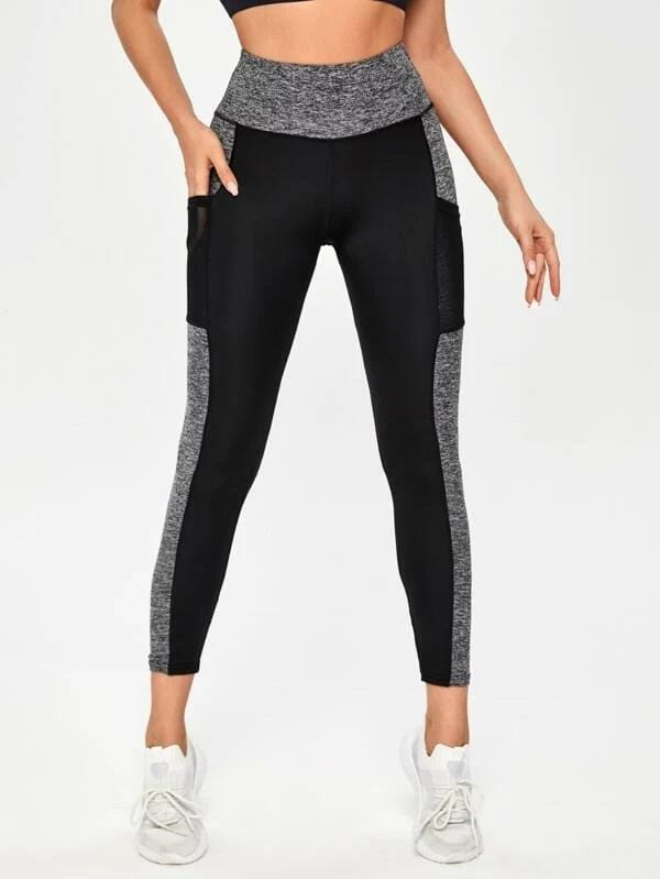 Contrast Panel Leggings With Phone Pocket luwos - Shop Women's T-shirts, blouses, Leggings & Trousers online - Luwos
