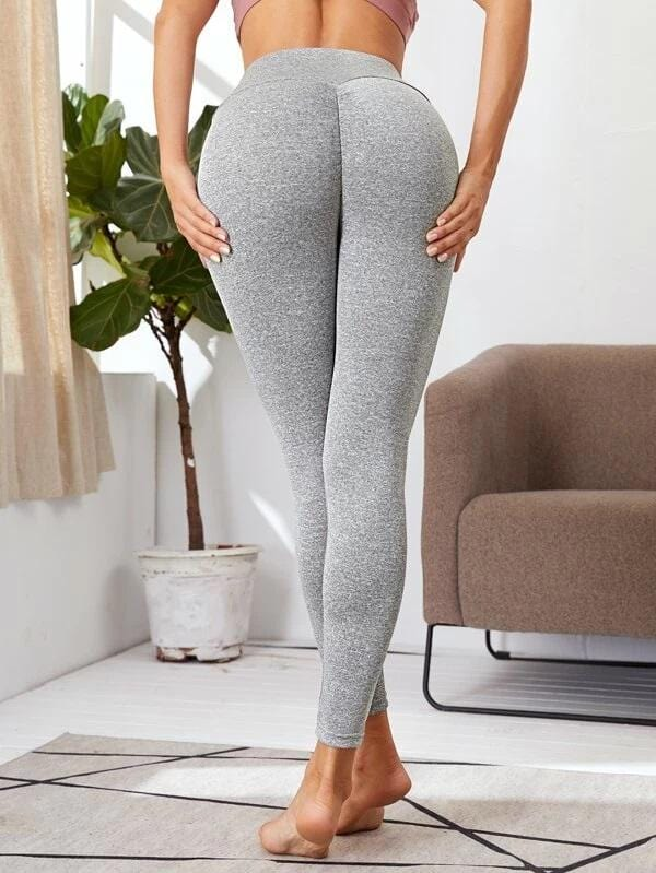 Heather Grey Wide Waistband Sports Leggings - Shop Women's T-shirts, blouses, Leggings & Trousers online - Luwos