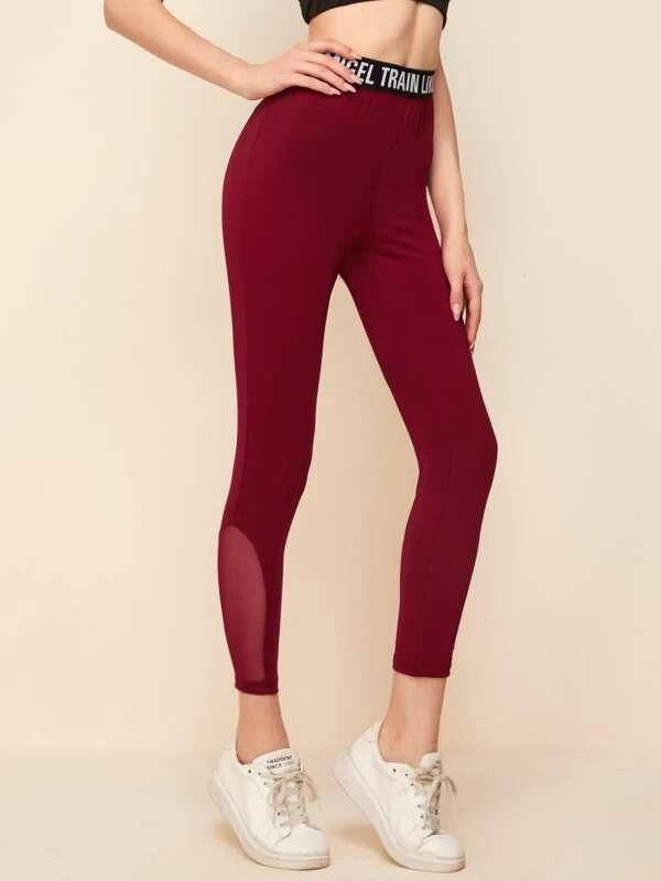 Slogan Graphic Waist Mesh Insert Leggings - Shop Women's T-shirts, blouses, Leggings & Trousers online - Luwos
