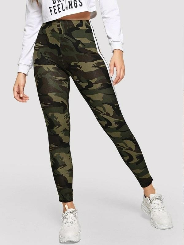 Striped Tape Side Camo Leggings Luwos - Shop Women's T-shirts, blouses, Leggings & Trousers online - Luwos