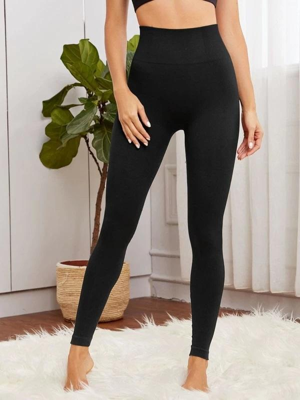 Solid Wideband Waist Sports Leggings Luwos - Shop Women's T-shirts, blouses, Leggings & Trousers online - Luwos
