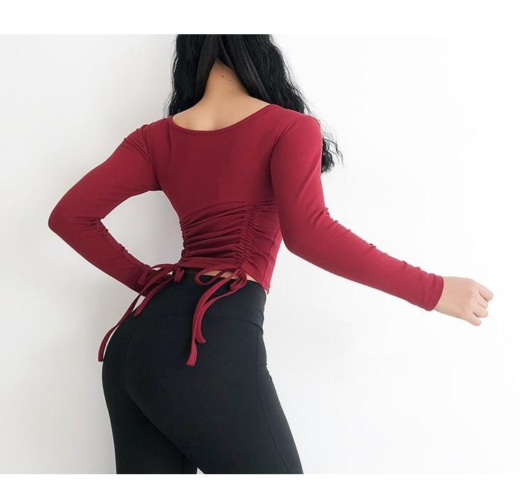 Front or Backward Wear Yoga Top Women Long Sleeve - Shop Women's T-shirts, blouses, Leggings & Trousers online - Luwos