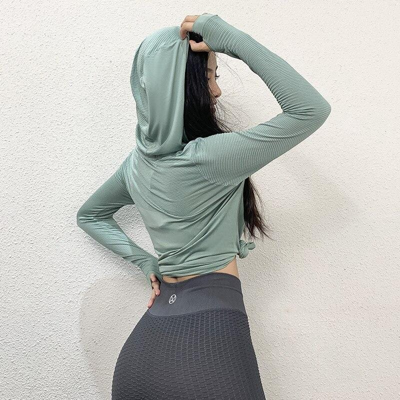 Long Sleeves Sexy Quick Dry Sport Hoodie Gym shirt Fitness - Shop Women's T-shirts, blouses, Leggings & Trousers online - Luwos