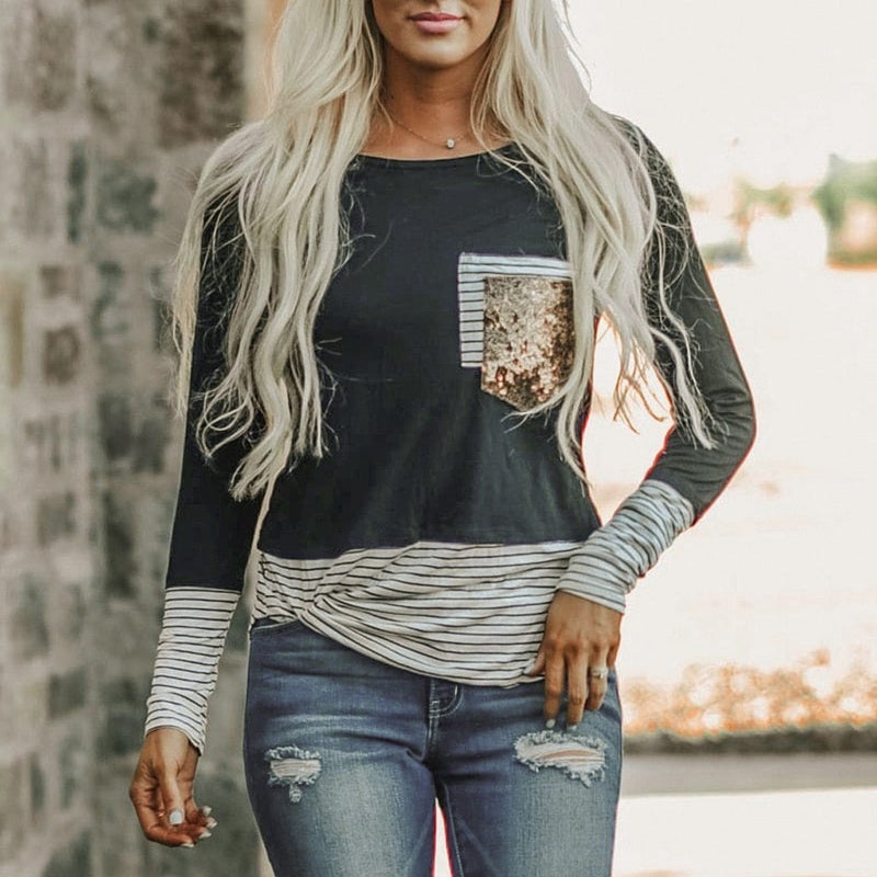 Fashion Womens T Shirt O-Neck Long Sleeves - Shop Women's T-shirts, blouses, Leggings & Trousers online - Luwos