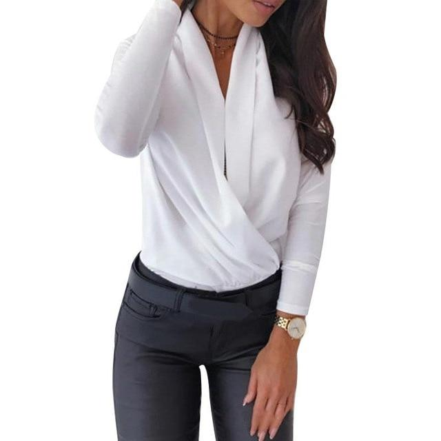 Luwos: Lady Tops And Blouses V-Neck Long Sleeve - Shop Women's T-shirts, blouses, Leggings & Trousers online - Luwos