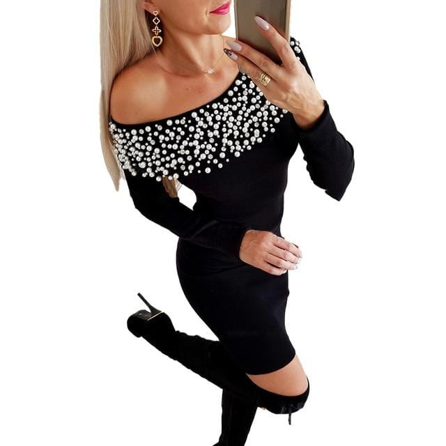Beading Sexy Dress Winter Female Pearl Slim Short - Shop Women's T-shirts, blouses, Leggings & Trousers online - Luwos