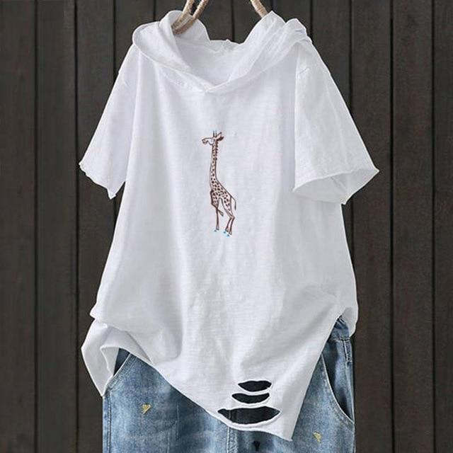 T Shirt Short Sleeve Loose Casual Hooded Tee Shirt - Shop Women's T-shirts, blouses, Leggings & Trousers online - Luwos