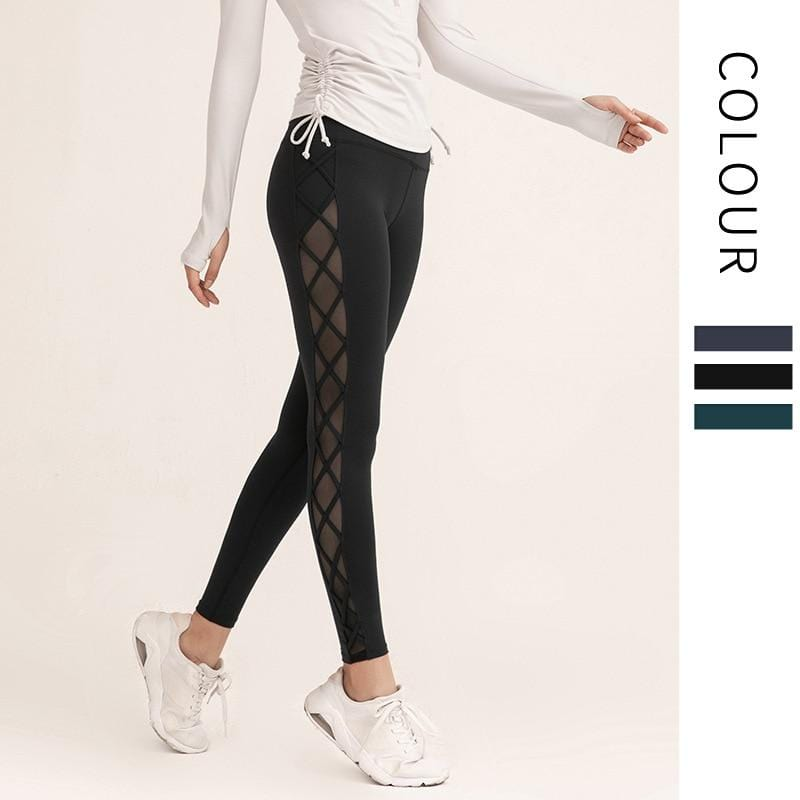 Mesh Hip-lifting Fitness Pants Female High Elasticity Sports - Shop Women's T-shirts, blouses, Leggings & Trousers online - Luwos