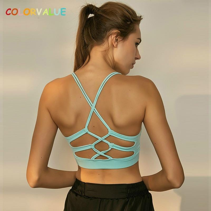 Crisscross Fitness Yoga Bra Top Women Removable Pads Workout - Shop Women's T-shirts, blouses, Leggings & Trousers online - Luwos