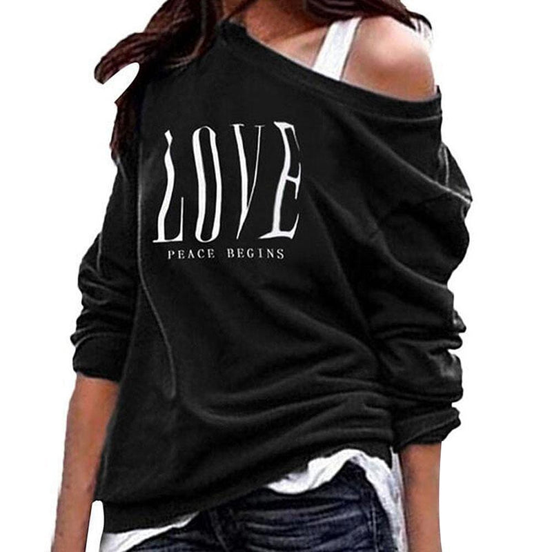 Women Skew Neck Sexy One Off Shoulder Sweatshirt - Shop Women's T-shirts, blouses, Leggings & Trousers online - Luwos