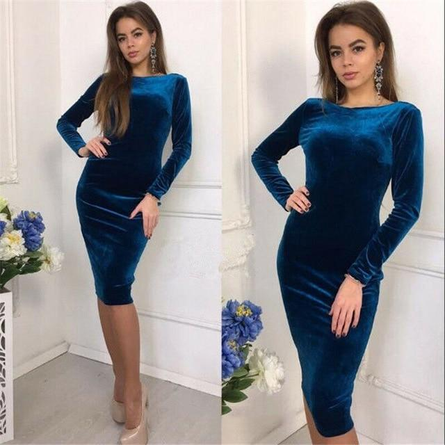 Luwos: Long Sleeve Velvet Stretch Bodycon Midi Dress - Shop Women's T-shirts, blouses, Leggings & Trousers online - Luwos