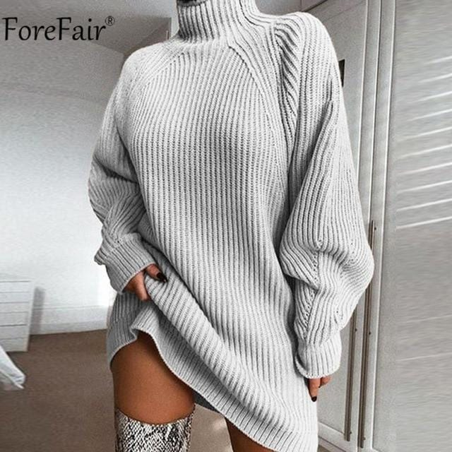 Turtleneck Long Sleeve Sweater Dress Women Autumn Winter Loose Tunic Knitted - Shop Women's T-shirts, blouses, Leggings & Trousers online - Luwos