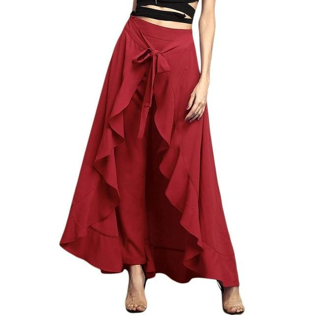 Women Palazzo Pants 2020 Causal Ruffle Drawstrin - Shop Women's T-shirts, blouses, Leggings & Trousers online - Luwos