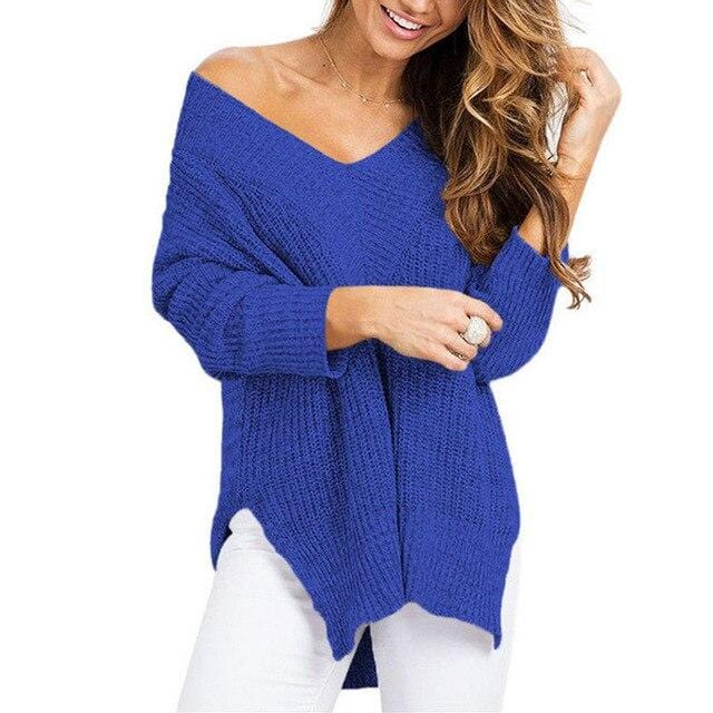 Luwos: V-neck Knitted Sweater - Shop Women's T-shirts, blouses, Leggings & Trousers online - Luwos