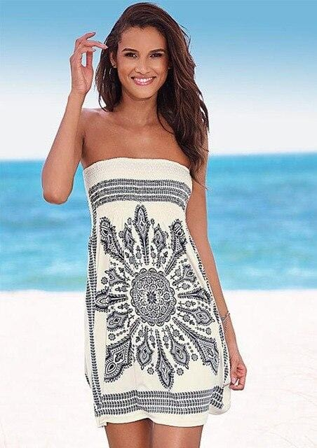 Fashion Print Strapless Sexy Dress Summer Sleeveless Mini  Beach Dress 2020 - Shop Women's T-shirts, blouses, Leggings & Trousers online - Luwos