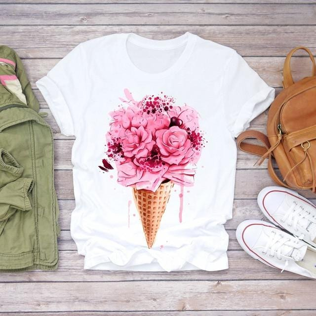Women 2020 Summer  Flower Fashion Lady T-shirts - Shop Women's T-shirts, blouses, Leggings & Trousers online - Luwos