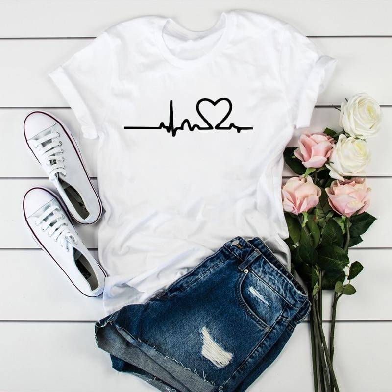 New Women Heart beat Print Top - Shop Women's T-shirts, blouses, Leggings & Trousers online - Luwos