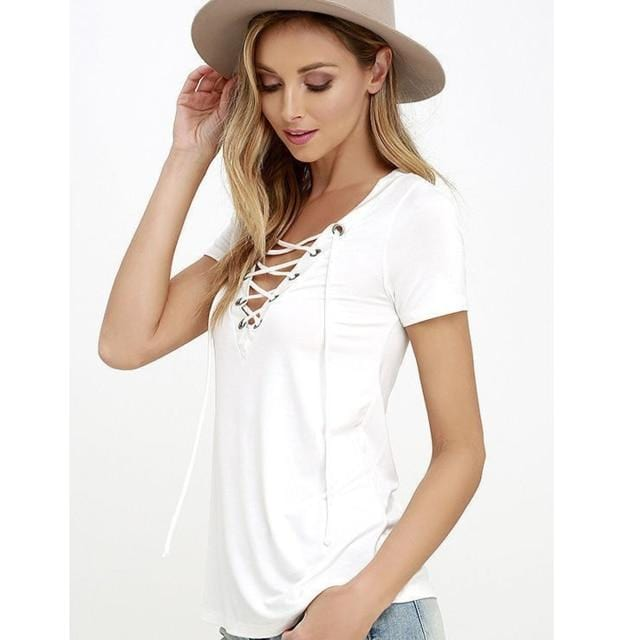 T-Shirt  V-neck Women  Summer - Shop Women's T-shirts, blouses, Leggings & Trousers online - Luwos