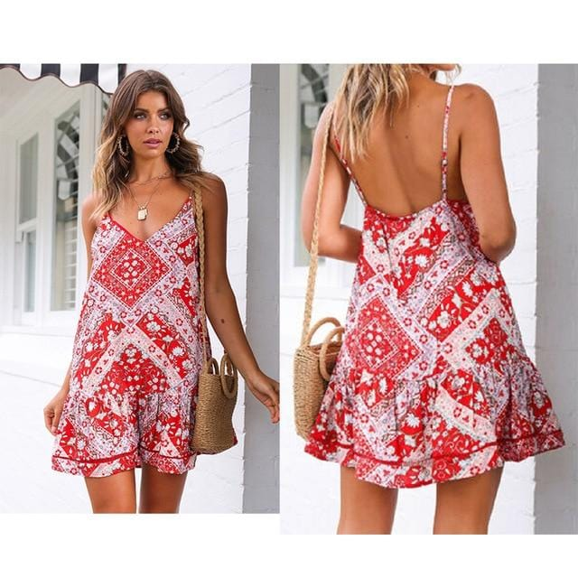 Women Boho Beach Dress Sleeveless Floral V Neck Summer Dresses - Shop Women's T-shirts, blouses, Leggings & Trousers online - Luwos