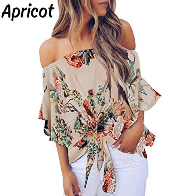 Summer Sexy Blouse Women Floral 2020 FASHION - Shop Women's T-shirts, blouses, Leggings & Trousers online - Luwos