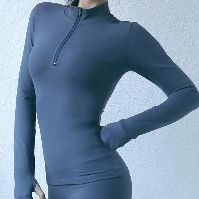 Women Yoga Top Sport Zipper Long Sleeve Yoga - Shop Women's T-shirts, blouses, Leggings & Trousers online - Luwos