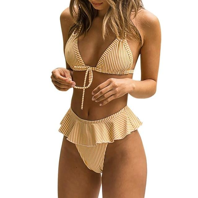 Women Sexy Bikini Ruffles Bikini Push Up - Shop Women's T-shirts, blouses, Leggings & Trousers online - Luwos