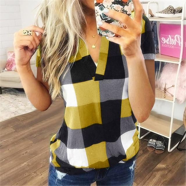 T Shirt  Cotton  Casual Short Sleeve Shirt - Shop Women's T-shirts, blouses, Leggings & Trousers online - Luwos
