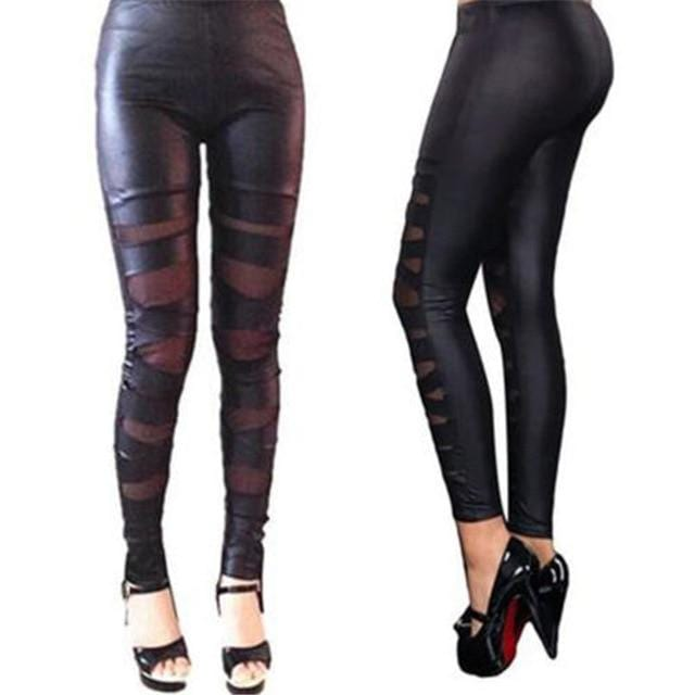 Luwos: Women High Waist Tight Leather Stretch Pants Casual - Shop Women's T-shirts, blouses, Leggings & Trousers online - Luwos