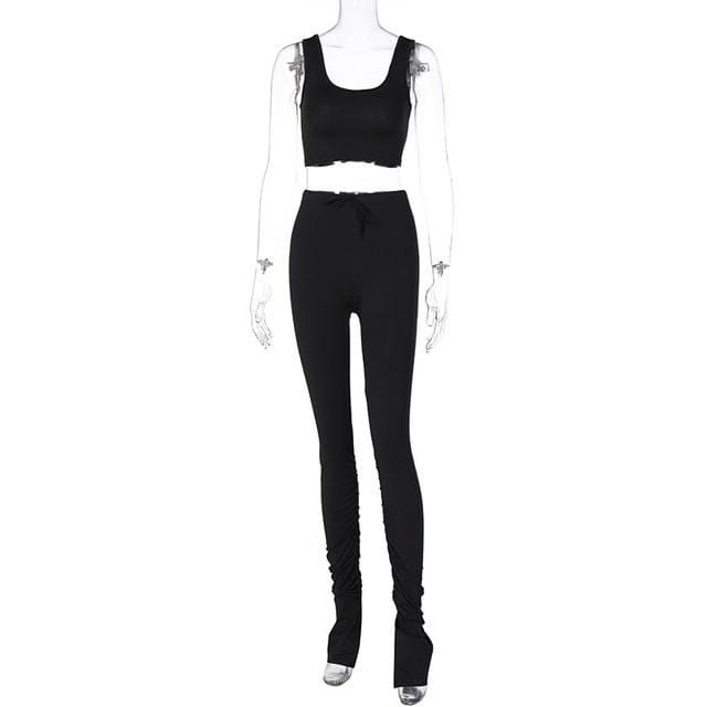 Luwos: Pants 2 Piece Set Women Casual Sportswear Sleeveless Tracksuits - Shop Women's T-shirts, blouses, Leggings & Trousers online - Luwos