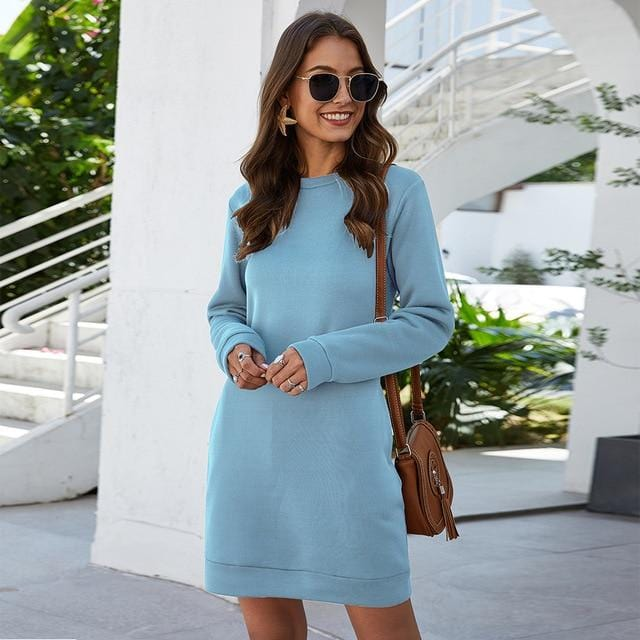 Luwos: Winter O Neck Long Sleeve Women's Sweatshirt Dress - Shop Women's T-shirts, blouses, Leggings & Trousers online - Luwos