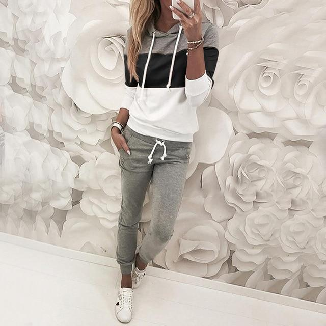 Women  Patchwork Color Hooded Top pullover + Full Length Drawstring Pants - Shop Women's T-shirts, blouses, Leggings & Trousers online - Luwos