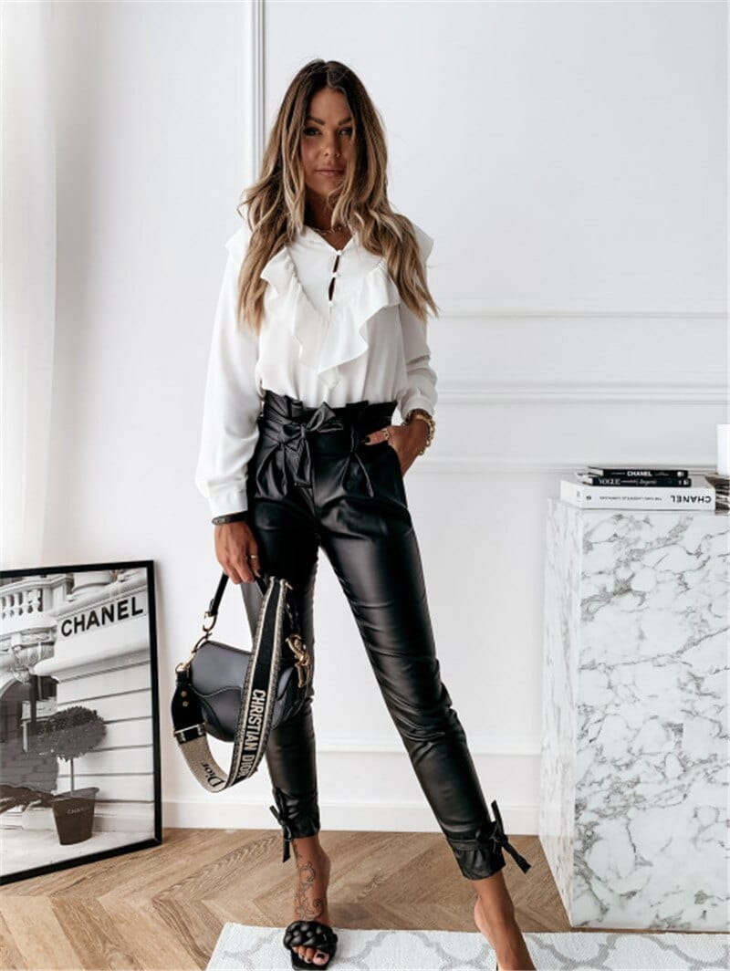 Women Black Faux Leather Pants High Waist Belt Sashes Pockets Slim Sexy Trousers - Shop Women's T-shirts, blouses, Leggings & Trousers online - Luwos