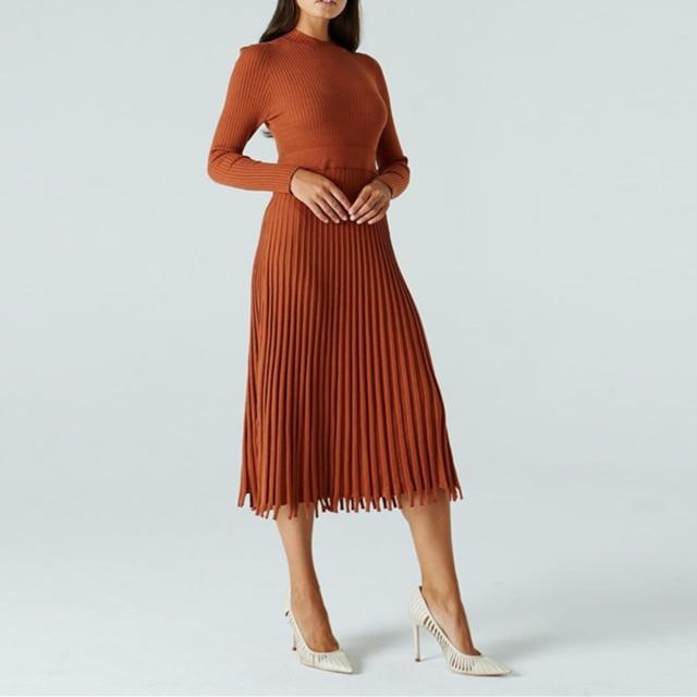 Luwos: Women Knitted Long Dress Autumn Winter Basic Full Sleeve Ladies - Shop Women's T-shirts, blouses, Leggings & Trousers online - Luwos