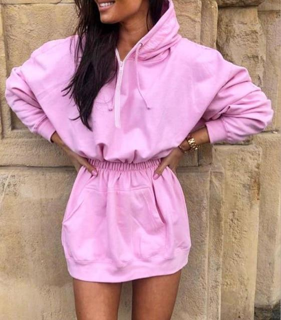 Luwos: Hooded Sweatshirt Dress Women Sports Pencil Dress Street Style Autumn Winter - Shop Women's T-shirts, blouses, Leggings & Trousers online - Luwos