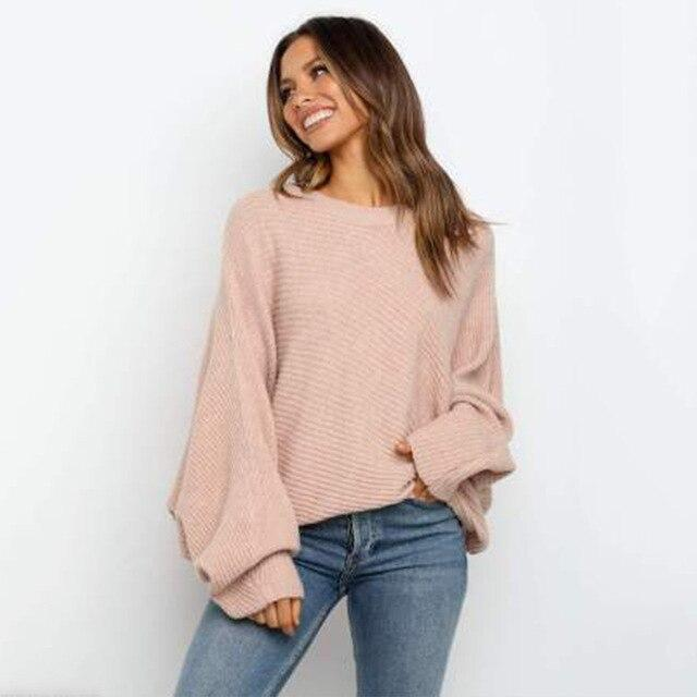 2020 Fall and Winter Casual Beige Knitted Sweaters Women - Shop Women's T-shirts, blouses, Leggings & Trousers online - Luwos